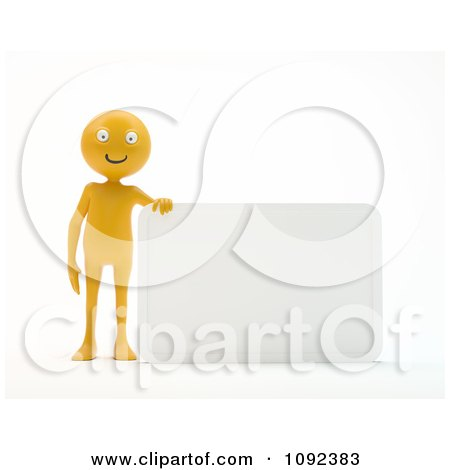 Clipart 3d Happy Orange Person Presenting A Blank Sign 2 - Royalty Free CGI Illustration by Mopic
