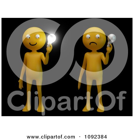 Clipart 3d Orange People Holding Bright And Non Light Light Bulbs On Black - Royalty Free CGI Illustration by Mopic