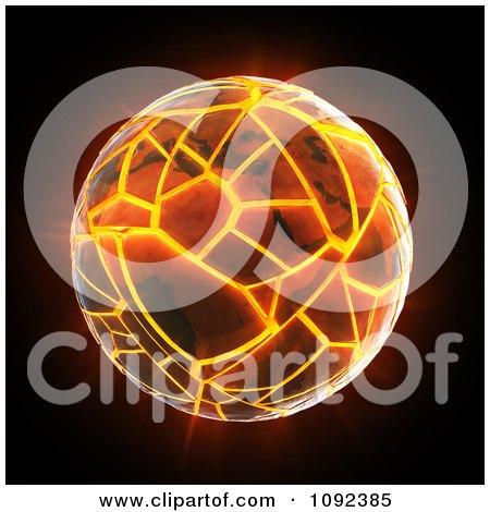 Clipart Earth Cracking And Exploding On Black - Royalty Free CGI Illustration by Mopic