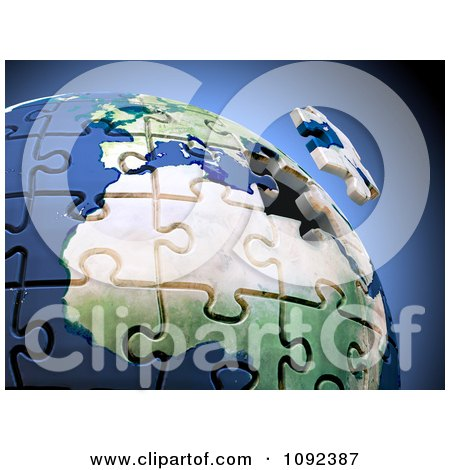 Clipart 3d Final Puzzle Piece Hovering Over Earth - Royalty Free CGI Illustration by Mopic