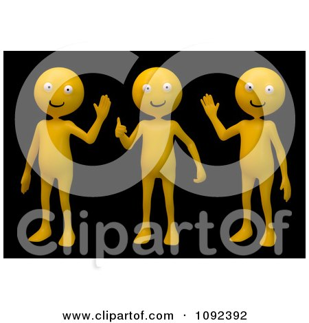 Clipart 3d Orange People Waving On Black - Royalty Free CGI Illustration by Mopic