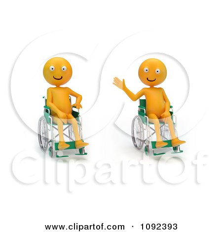 Clipart Two 3d Happy And Waving Orange People In Wheelchairs 1 - Royalty Free CGI Illustration by Mopic