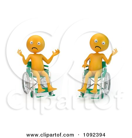 Clipart Two 3d Stressed And Upset Orange People In Wheelchairs 1 - Royalty Free CGI Illustration by Mopic