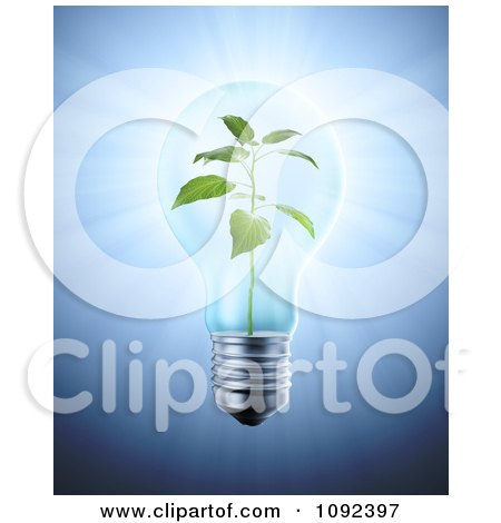 Clipart 3d Plant Inside A Light Bulb - Royalty Free CGI Illustration by Mopic