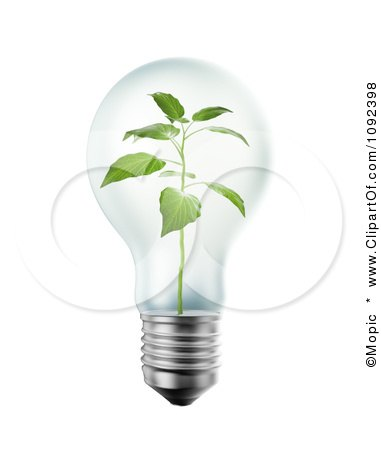 Clipart 3d Seedling Plant Inside A Light Bulb - Royalty Free CGI Illustration by Mopic