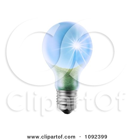 Clipart 3d Lightbulb With A Sunny Landscape - Royalty Free CGI Illustration by Mopic
