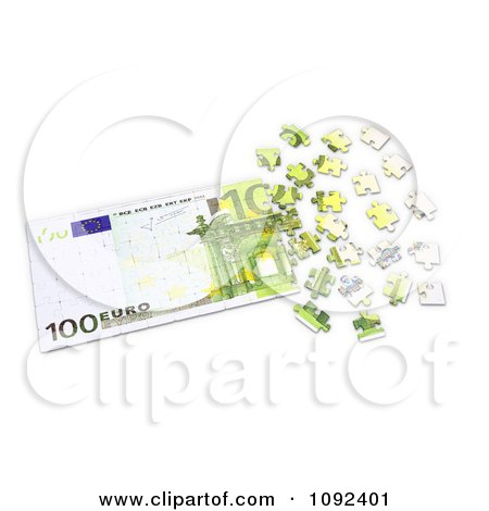 Clipart 3d 100 Euro Cash Puzzle - Royalty Free CGI Illustration by Mopic