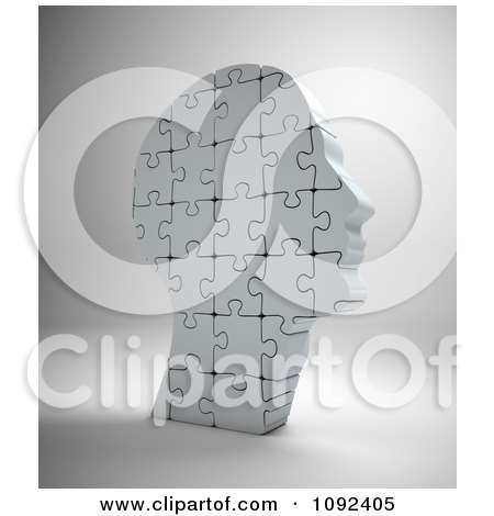 Clipart 3d Upright Complete Human Puzzle Piece Head - Royalty Free CGI Illustration by Mopic