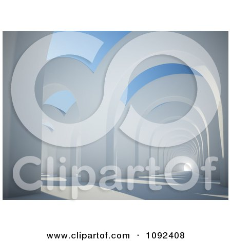 Clipart 3d Architectural Arches And Light At The End Of A Tunnel - Royalty Free CGI Illustration by Mopic