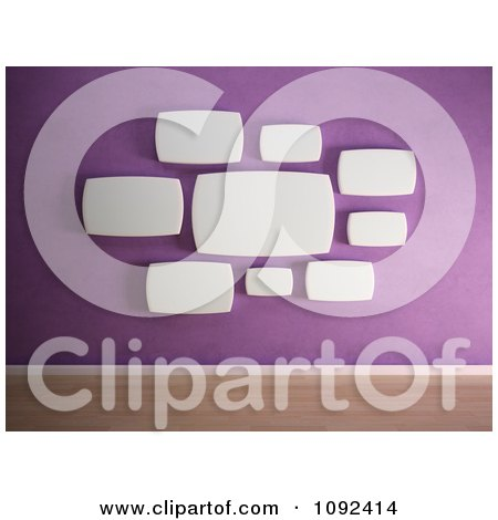 Clipart 3d Rounded White Frames Organized On A Purple Gallery Wall - Royalty Free CGI Illustration by Mopic