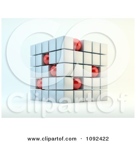 Clipart 3d Cube Formed With White Squares And Red Spheres - Royalty Free CGI Illustration by Mopic