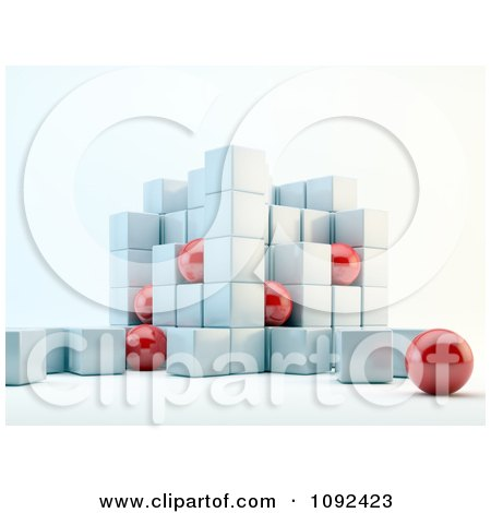Clipart 3d Red Spheres And White Cubes - Royalty Free CGI Illustration by Mopic