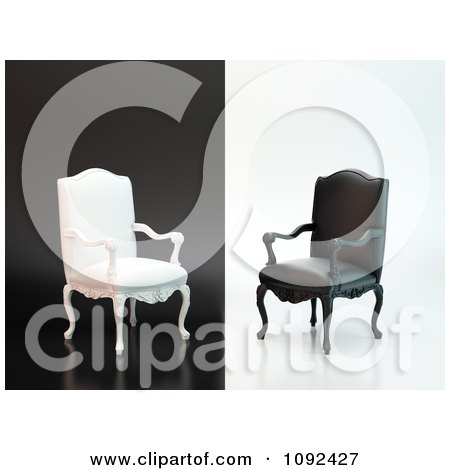 Clipart 3d Black And White Antique Chairs On Opposite Backgrounds - Royalty Free CGI Illustration by Mopic