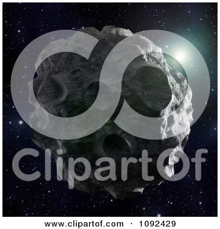 Clipart 3d Cratered Asteroid Floating In Space - Royalty Free CGI Illustration by Mopic