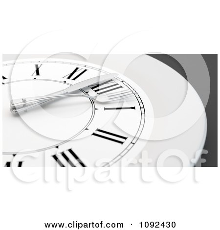 Clipart 3d Plate Wall Clock With A Fork And Knife - Royalty Free CGI Illustration by Mopic