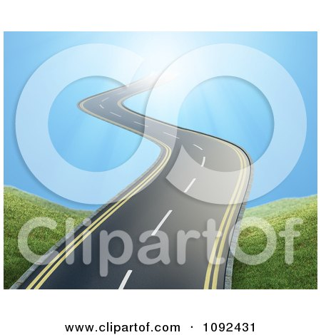 Clipart 3d Wavy Road Leading Into The Sky - Royalty Free CGI Illustration by Mopic