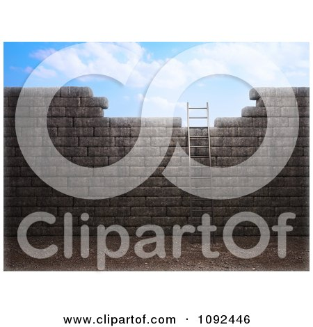Clipart 3d Ladder Leaning Against An Old Wall And Leading To The Sky - Royalty Free CGI Illustration by Mopic
