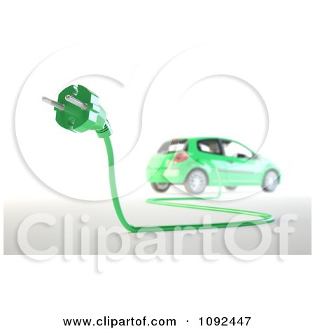 Clipart 3d Green Electric Car And Euro Plug - Royalty Free CGI Illustration by Mopic