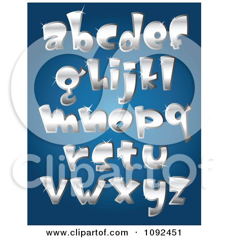 Clipart 3d Silver Sparkly Lowercase Letter Design Elements - Royalty Free Vector Illustration by yayayoyo