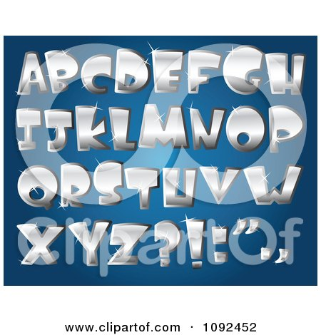Clipart 3d Silver Sparkly Capital Letter Design Elements - Royalty Free Vector Illustration by yayayoyo