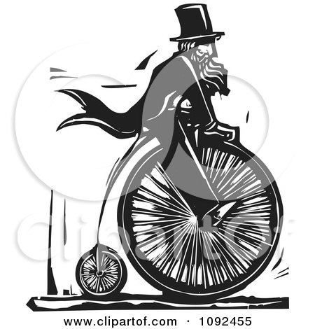 Clipart Man Wearing Top Hat And Riding A Penny Farthing Black And White Woodcut - Royalty Free Vector Illustration by xunantunich