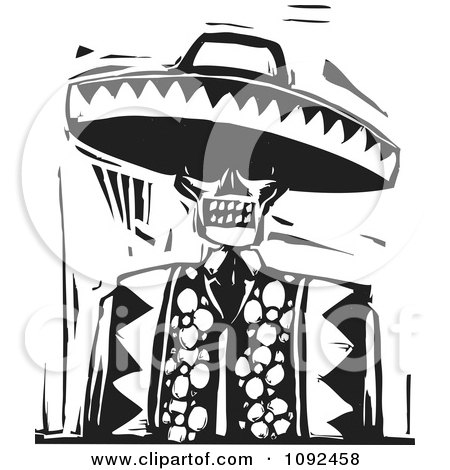Clipart Day Of The Dead Skeleton Wearing A Sombrero Black And White Woodcut - Royalty Free Vector Illustration by xunantunich