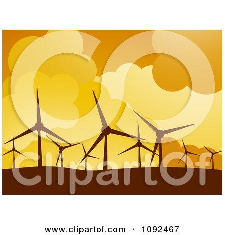Clipart Turbines Silhouetted Against An Orange Sky At A Wind Farm - Royalty Free Vector Illustration by elaineitalia