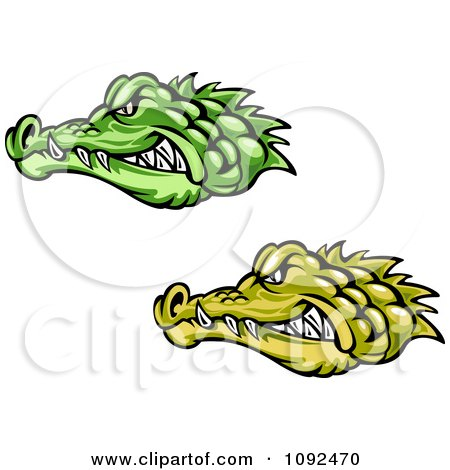 Clipart Green And Yellow Crocodile Or Alligator Heads - Royalty Free Vector Illustration by Vector Tradition SM