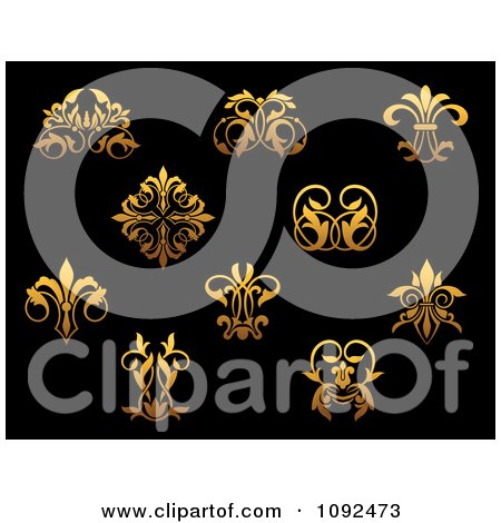 Clipart Ornate Gold Small Flourish Design Elements On Black 2 - Royalty Free Vector Illustration by Vector Tradition SM