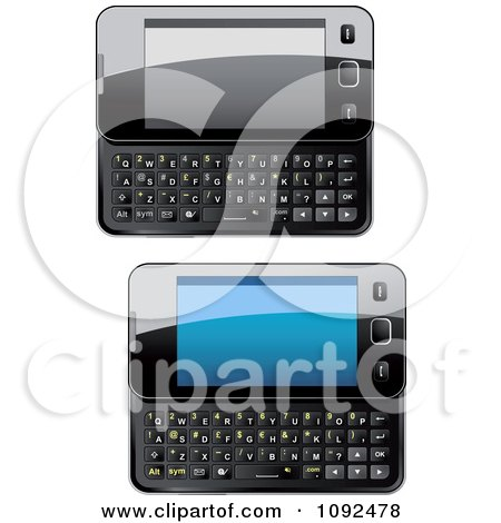 Clipart 3d Black Shiny Slide Phones - Royalty Free Vector Illustration by Vector Tradition SM