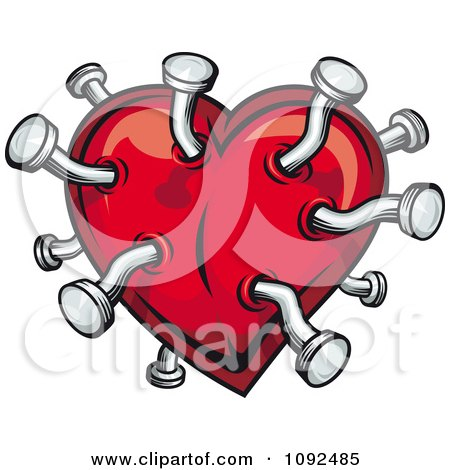 Clipart Pins In A Red Heart - Royalty Free Vector Illustration by Vector Tradition SM