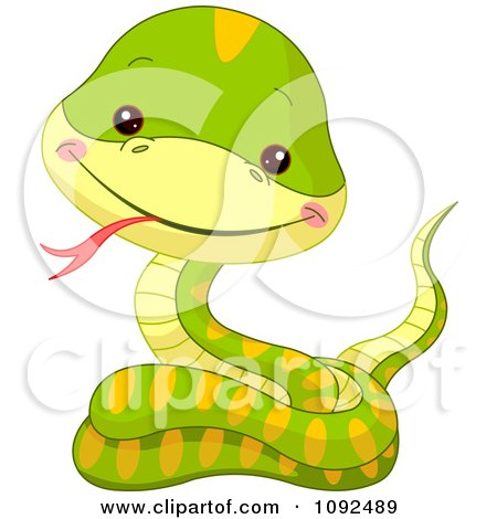 Clipart Cute Baby Zoo Snake - Royalty Free Vector Illustration by Pushkin
