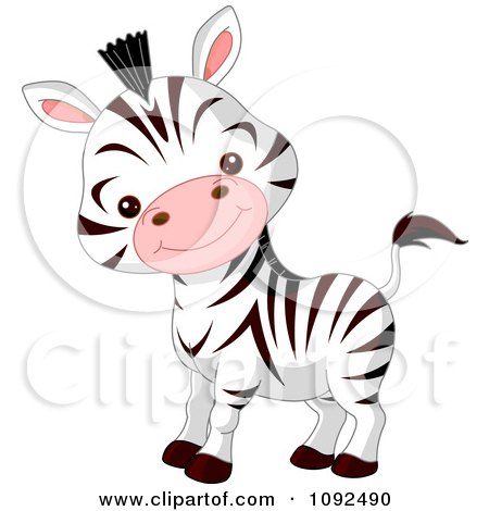 Clipart Cute Baby Zoo Zebra - Royalty Free Vector Illustration by Pushkin