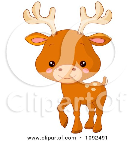 Clipart Cute Baby Zoo Deer - Royalty Free Vector Illustration by Pushkin