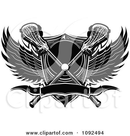 Clipart Lacrosse Ball With Sticks A Shield And Black And White Wings - Royalty Free Vector Illustration by Chromaco