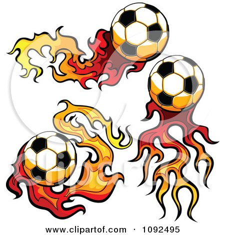 Clipart Three Socccer Balls With Flame Trails - Royalty Free Vector Illustration by Chromaco