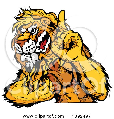Clipart Strong Lion Mascot Champion Flexing And Holing Up A Finger - Royalty Free Vector Illustration by Chromaco