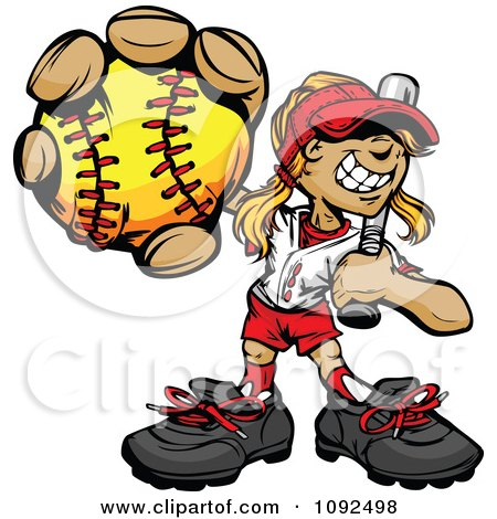 Softball Girl Holding Out A Ball With A Bat Resting On Her Shoulder Posters, Art Prints