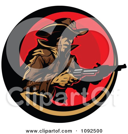 Clipart Cowboy Holding Two Pistols Over A Red Circle - Royalty Free Vector Illustration by Chromaco