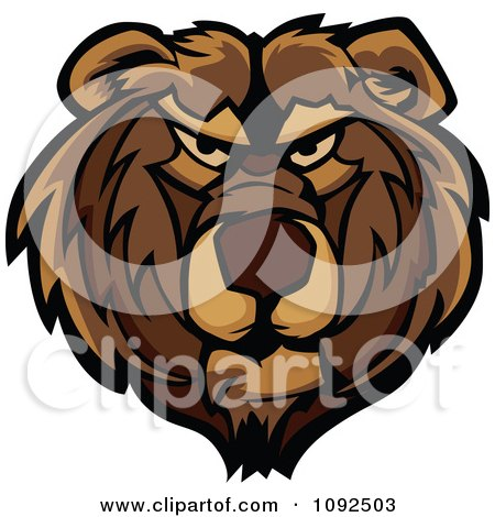 Clipart Mad Bear Mascot Face - Royalty Free Vector Illustration by Chromaco