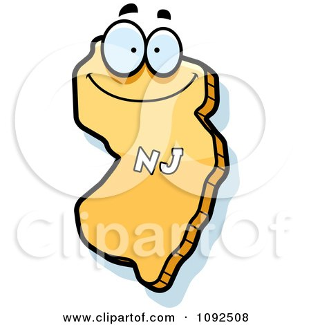 Clipart Happy Yellow New Jersey State Character - Royalty Free Vector Illustration by Cory Thoman