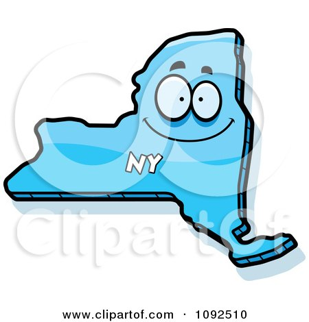Clipart Happy Blue New York State Character - Royalty Free Vector Illustration by Cory Thoman