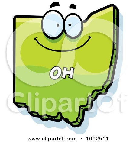 Clipart Happy Green Ohio State Character - Royalty Free Vector Illustration by Cory Thoman