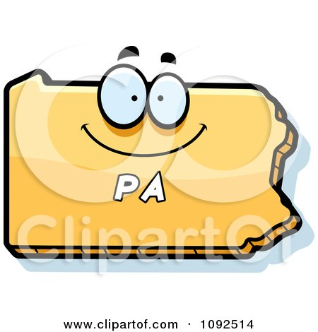 Clipart Happy Yellow Pennsylvania State Character - Royalty Free Vector Illustration by Cory Thoman