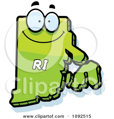 Clipart Happy Green Rhode Island State Character - Royalty Free Vector Illustration by Cory Thoman