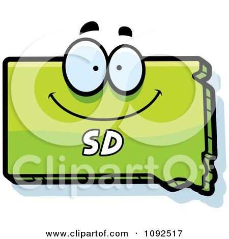 Clipart Happy Green South Dakota State Character - Royalty Free Vector Illustration by Cory Thoman
