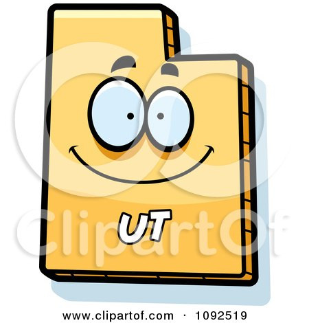 Clipart Happy Yellow Utah State Character - Royalty Free Vector Illustration by Cory Thoman