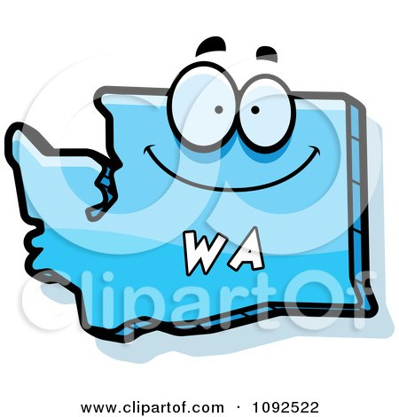 Clipart Happy Blue Washington State Character - Royalty Free Vector Illustration by Cory Thoman