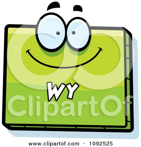 Clipart Happy Green Wyoming State Character - Royalty Free Vector Illustration by Cory Thoman
