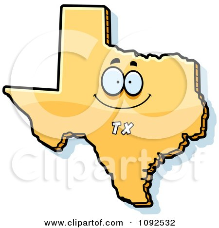 Clipart Happy Yellow Texas State Character - Royalty Free Vector Illustration by Cory Thoman